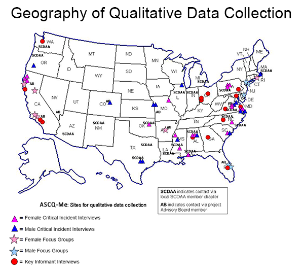 Geography of Critical Incident Data Collection. ASCQ-Me: Sites for Qualitative Data Collection.